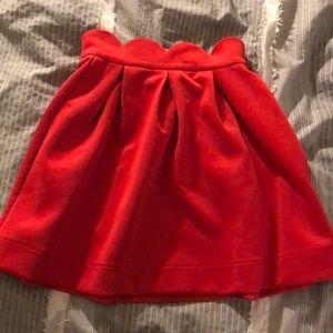 Red scalloped skater skirt